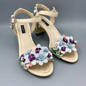 NIB DOLCE & GABBANA Hydrangea Leather Sandals EU39